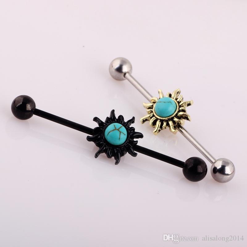 New 316L Stainless Steel 14G 38mm Round Sun Industrial Barbell piercing Cartilage ear tongue ring body jewelry