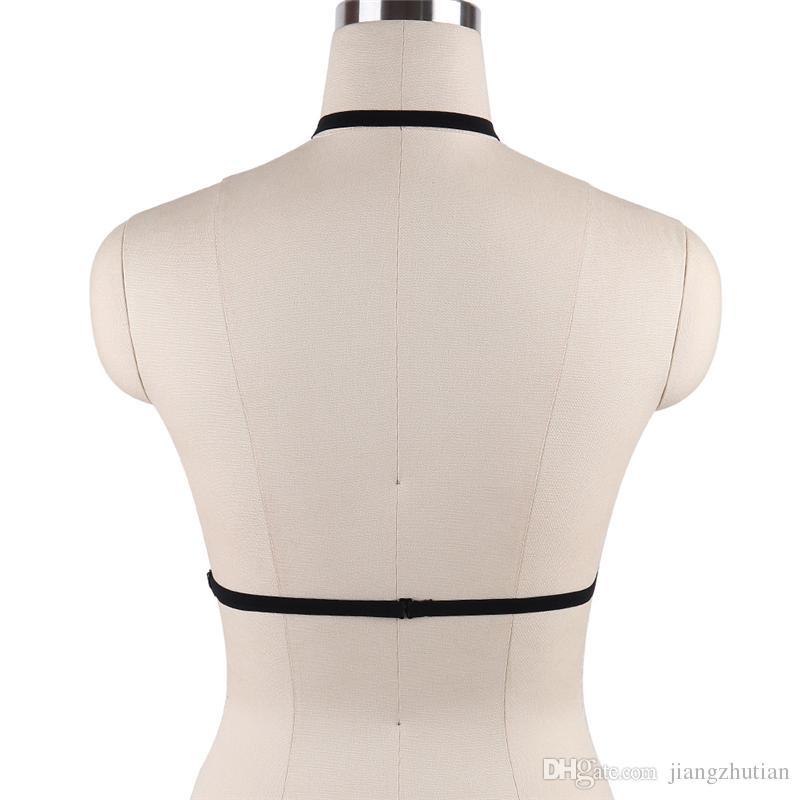 IMBRAGATURA PENTAGRAM Goth Sexy Body Cage Cinghie Cinture Nero Elastico Reggiseno con cravatta Bondage Lingerie Esotico Fetish Cosplay Wear