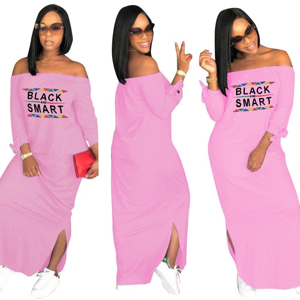 10cf1f5abbd Side Slit Slash Neck Casual Tshirt Maxi Dress Vestidos Casuales Winter Women  Bow Tie Long Sleeve Letter Print Loose Dresses 3XL Women In Long Dresses  Black ...