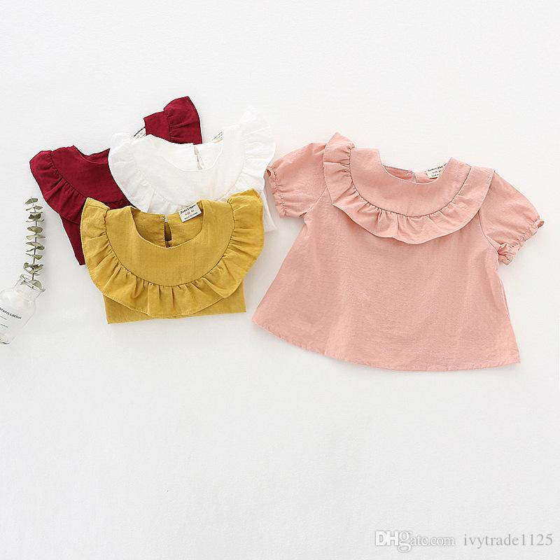 NEW arrival kids clothing Hot selling summer Girls Short sleeve solid color Shirt baby kids O-neck girl shirt 100% cotton shirt