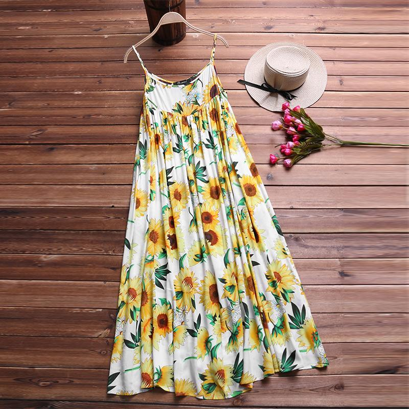 fa0aad06b5 2019 2018 Summer Women Sexy Floral Printed Spaghetti Straps Dress Casual  Loose Bohemian Beach Party Pleated Vestido Plus Size S 5XL From Tuhua