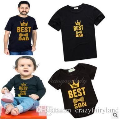 a55b577f6 Family Matching Outfits Father And Son Clothes 2018 Summer The Best Father  And Son Printed Clothing Newborn Baby Romper Father Tops T Shirts Mother  And ...