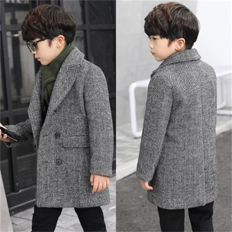 6e2d88e0c New 2018 Fashion Lattice High Quality Children Woolen Coat For Boys ...