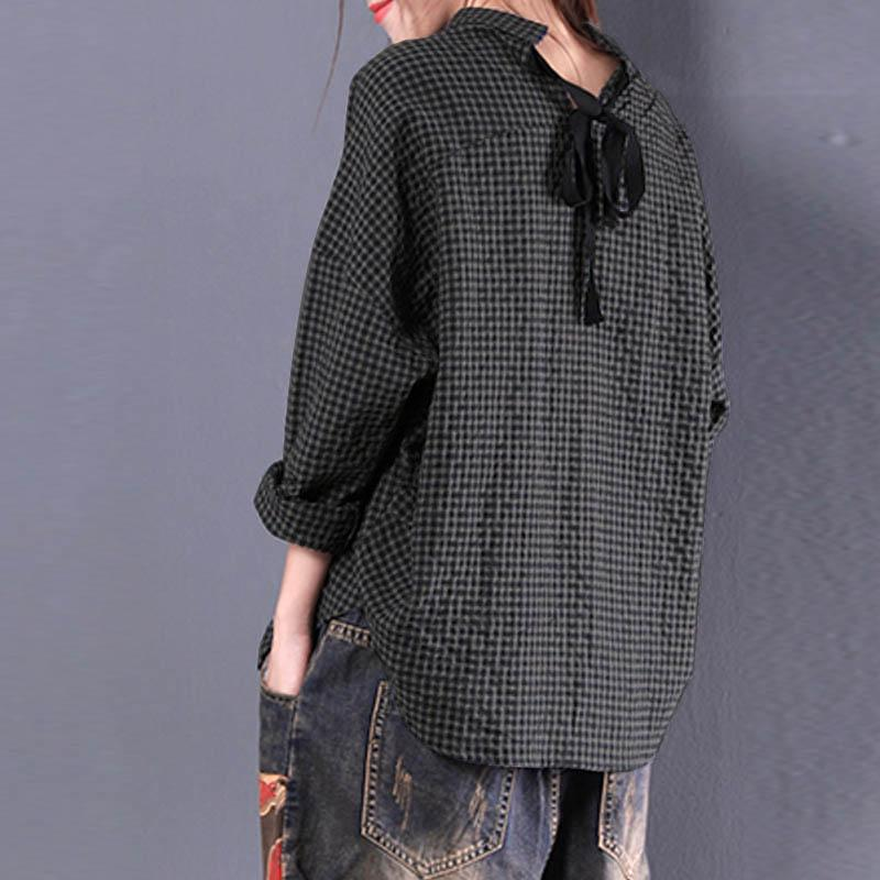 24ee44a5d00 2019 New ZANZEA Autumn Women Casual Vintage Check Plaid Blouse Loose Cotton  Linen Work Shirt Lace Up Long Sleeve Top Blusas Plus Size From Pingpo