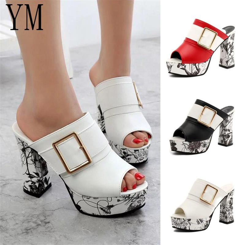 d5c15a6e6b5e Fashion Summer Women Elegant Buckle High Heel Sandals Peep Toe Platform  Shoes Sexy Chunky Heel Shoes Lady Thick Heel 40 Pink Shoes Munro Shoes From  ...