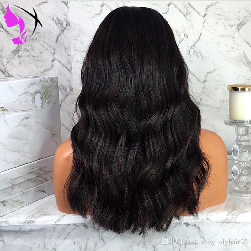 16inch vague de corps Bob perruque de cheveux synthétiques naturel noir Glueless court avant de dentelle perruques résistant à la chaleur pour l'Afrique américain