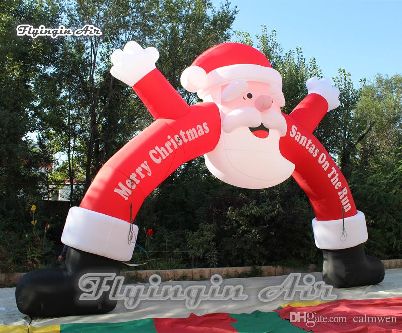 2018 happy christmas inflatable santa arch custom giant blow up father christmas archway for outdoor entrance decoration from calmwen 45799 dhgatecom - Outdoor Blow Up Christmas Decorations