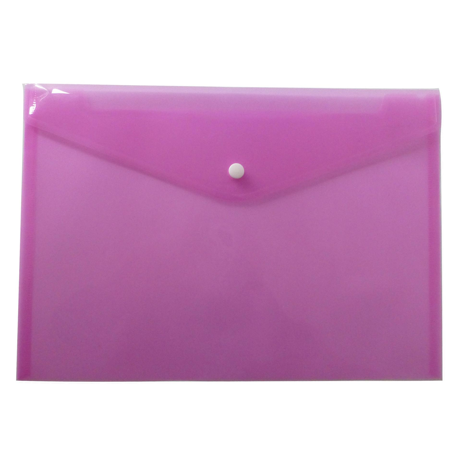 A4 File Folder Transparent Plastic Document Bag Hasp Button Classified Storage Stationery Bag File Holder