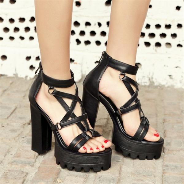 8a29ba2b717 Rome Gladiator Sandals Women Open Toe Punk Rock Gothic Thick Platform  Chunky Block High Heels Sandals Ladies Shoes Girls Sandals White Sandals  From ...