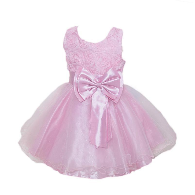 e80d277ef8dff 2017 New Girls Dress Wedding Party Kids Flowers Print Girl Clothes Princess  Pink Children's Bow Summer Lace Kids Evening Dresses
