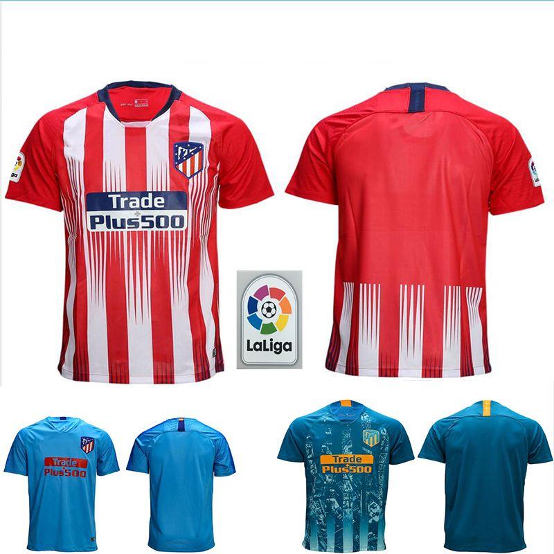a0960f27d56 7 GRIEZMANN Madrid Home Red Soccer Jersey 18 19  6 KOKE Soccer Shirt ...