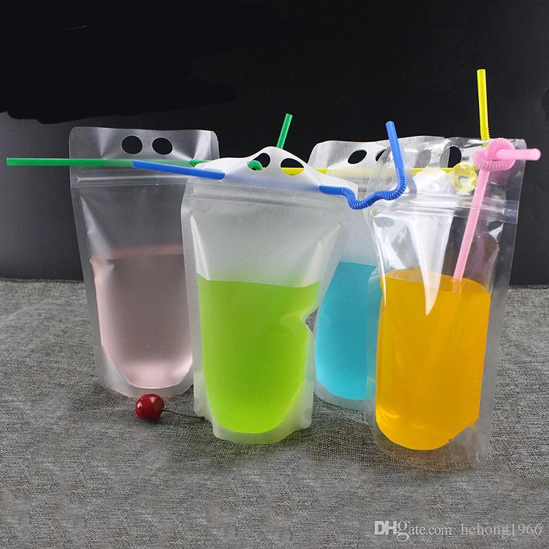Fashion Novelty 400ml Frosted Transparent Drink Storage Bag Self Sealed Food Grade Plastic Drinking Container Diy Juice Pockets S 0 29rf Z