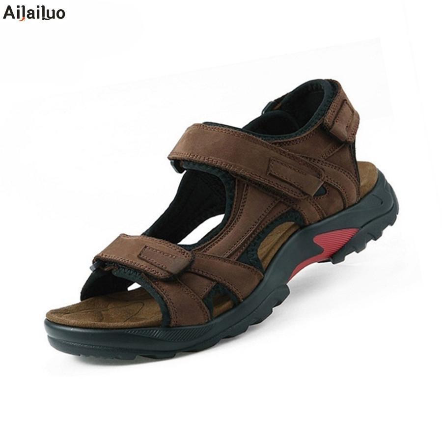 6bee46345d060 Top Qualität Sandale 2018 Männer Sandalen Sommer Echtem Leder Sandalen  Männer Outdoor-schuhe Leder Plus Größe 38-48 3363
