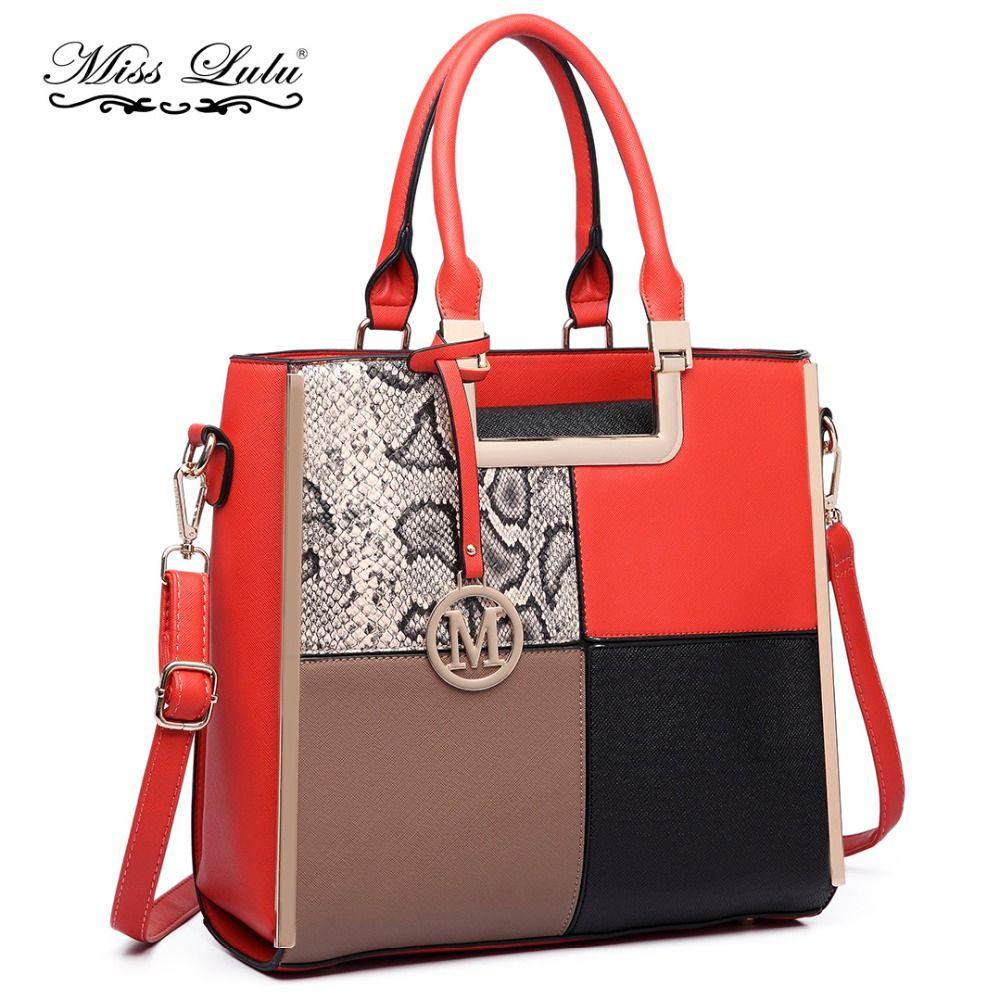 a1aa95f8bd Miss Lulu Women Handbags Designer Fashion M Check Square Snake Print PU  Leather Shoulder Bags Ladies Large Tote Bag LT6621 Mens Shoulder Bags  Shoulder Bags ...