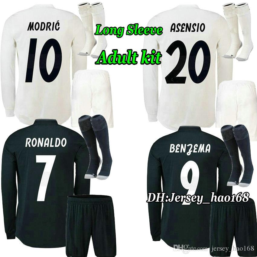 purchase cheap 19a66 02ff9 18 19 Adult Kit Long Sleeve Real madrid Home soccer Jersey ASENSIO MARCELO  RONALDO BENZEMA BALE KROOS SERGIO RAMOS MODRIC away Football Shir
