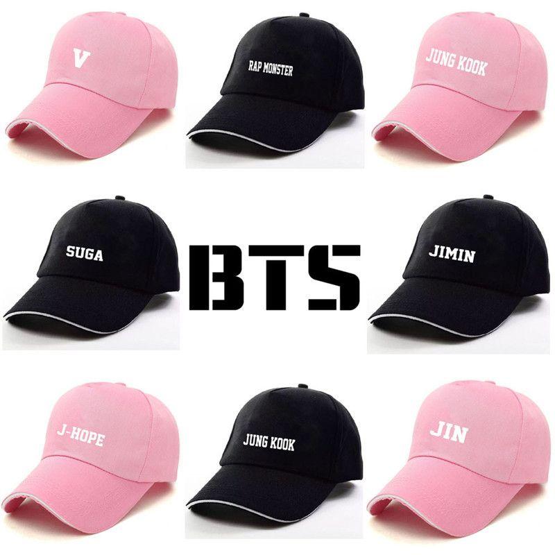 New Kpop BTS Bangtan Boys BT21 JUNGKOOK SUGA JHOPE V Members Name The Same  Letter baseball Hat Peaked Cap Free shipping