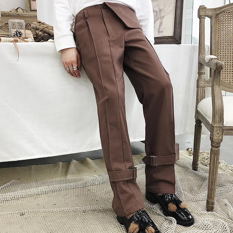 3d141d9ce90 2019 NEW Men S Street Fashion Personality Trends Autumn Style Irregular  Waist Circumference Brown Straight Tube Design Trousers From Yonnie