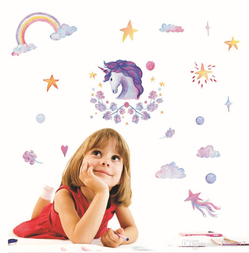 unicorno 3d wall decals sticker cute bling stars wall art stickers