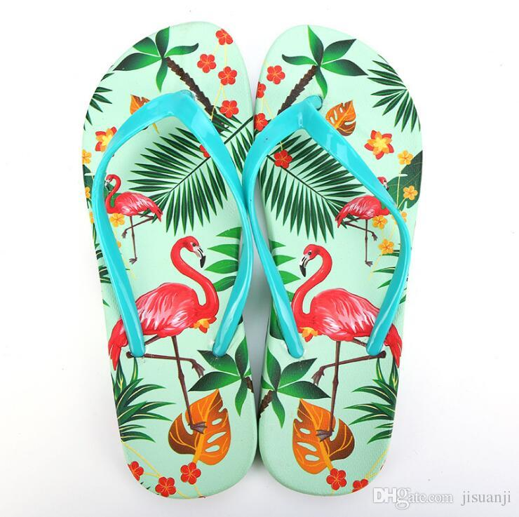 a84897cff62488 Flamingo Slippers Summer Fashion Women S Flip Flops Print Beach Slides For  Lady Girl Shower Room Anti Slip Sandals Moccasins For Men Shoe Sale From  Jisuanji ...
