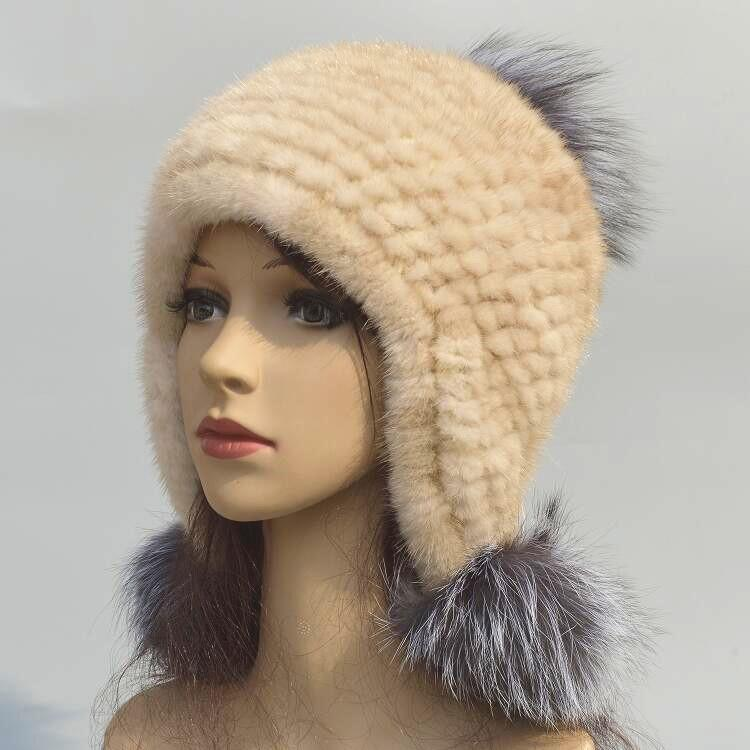 Womens Fur Hats Fur Pompom Real Russian Hat Winter Vintage Warm Knitted  Ladies Caps Beanie H88 Women Hats Cool Beanies From Clintcapela 34db8078d60