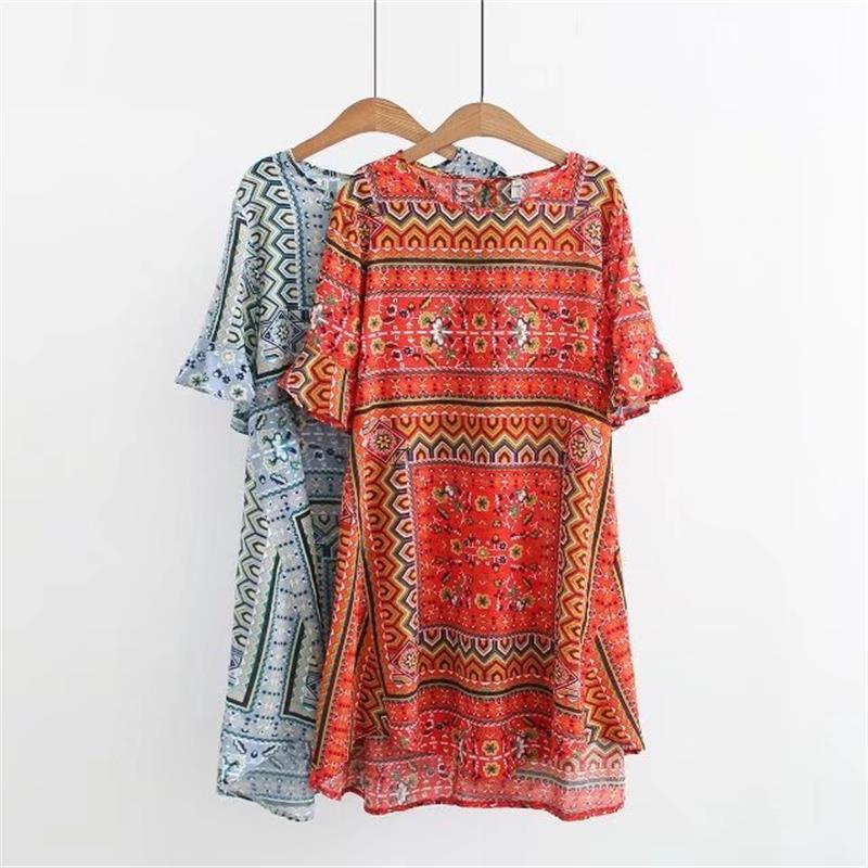 56a202d61 2019 Plus Size Flare Sleeve O Neck Cotton Print Women Dress 2018 New Ethnic  Style Light Blue & Red Summer Ladies Vestidos Femme 6XL From Chikui, ...