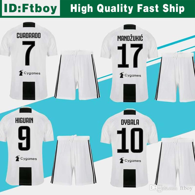 276685f2a NEW JUVENTUS Home Soccer Jersey Suit 18 19  7 RONALDO  10 DYBALA Soccer Shirt  Kit 2019 MANDZUKIC PJANIC Football Uniform Jersey+shorts Wholesale Online  with ...