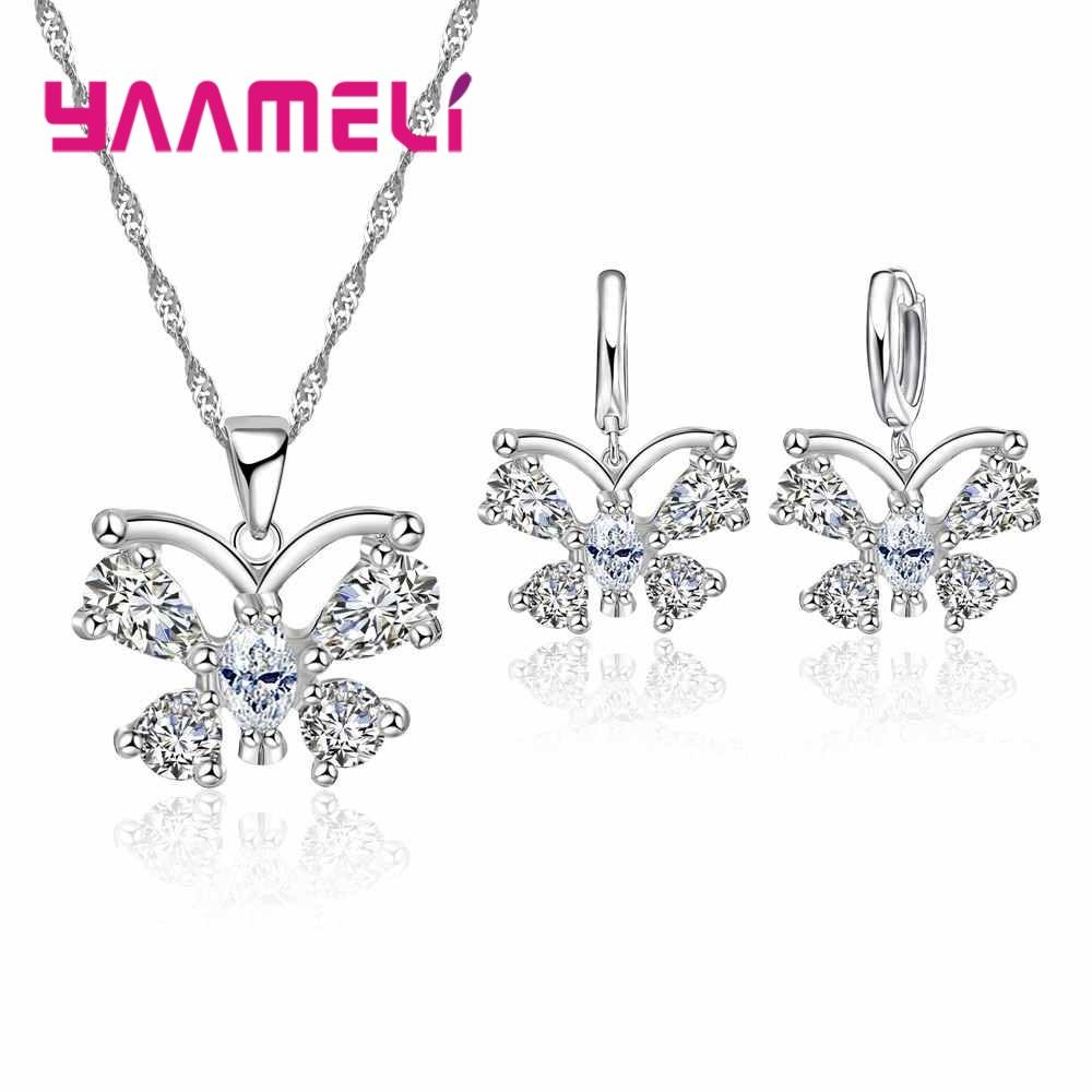 YAAMELI Shining Austrian Crystal Butterfly Pendant Necklace Earrings Jewelry Sets for Women 925 Sterling Silver High Quality