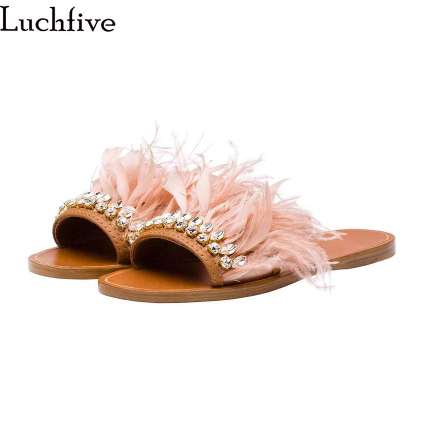 7618a5164 Summer Slippers Women Flat Heels Crystal Fringe Feather Embellished Slides Flip  Flop Cozy Tassel Rhinestone Beach Shoes Ladies Knee High Boots Womens Shoes  ...
