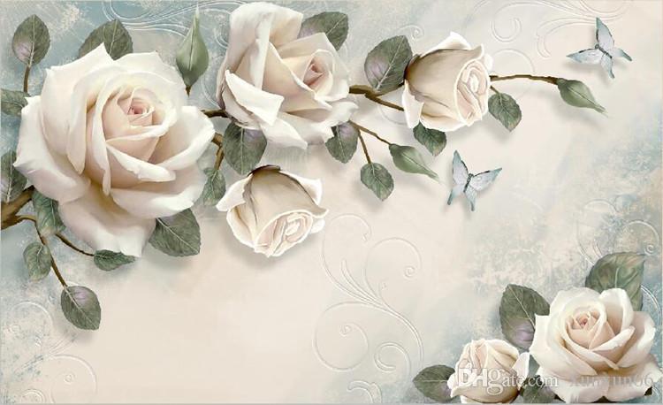 Европейские обои Белый цветок розы фреска фото обои гостиная обои 3D papel pintado по сравнению роллос papel de parede