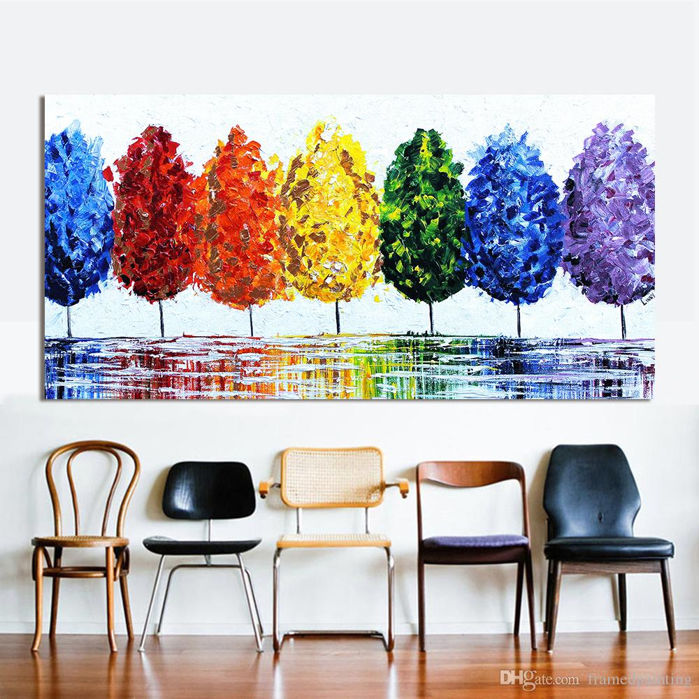 Wall Art Canvas Oil Painting Rainbow Tree Wall Pictures For Living Room  Home Decor No Frame Canvas Painting Paintings Canvas Hand Painted Painting  Online ...