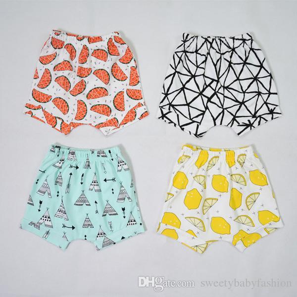 18 Design Kids Lemon pp Pantaloni Baby Toddler Girl Girl INS Animal Fox Tenda Ruote Pantaloni Fgure geometrici Pantaloncini Leggings KA598