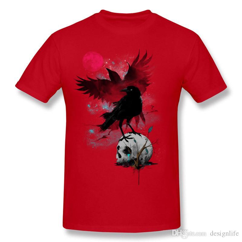 Men 100 Cotton THE RED MOON Tee Shirts Men O-Neck Grey Tees Short Sleeve Big Size Casual Tee Shirts