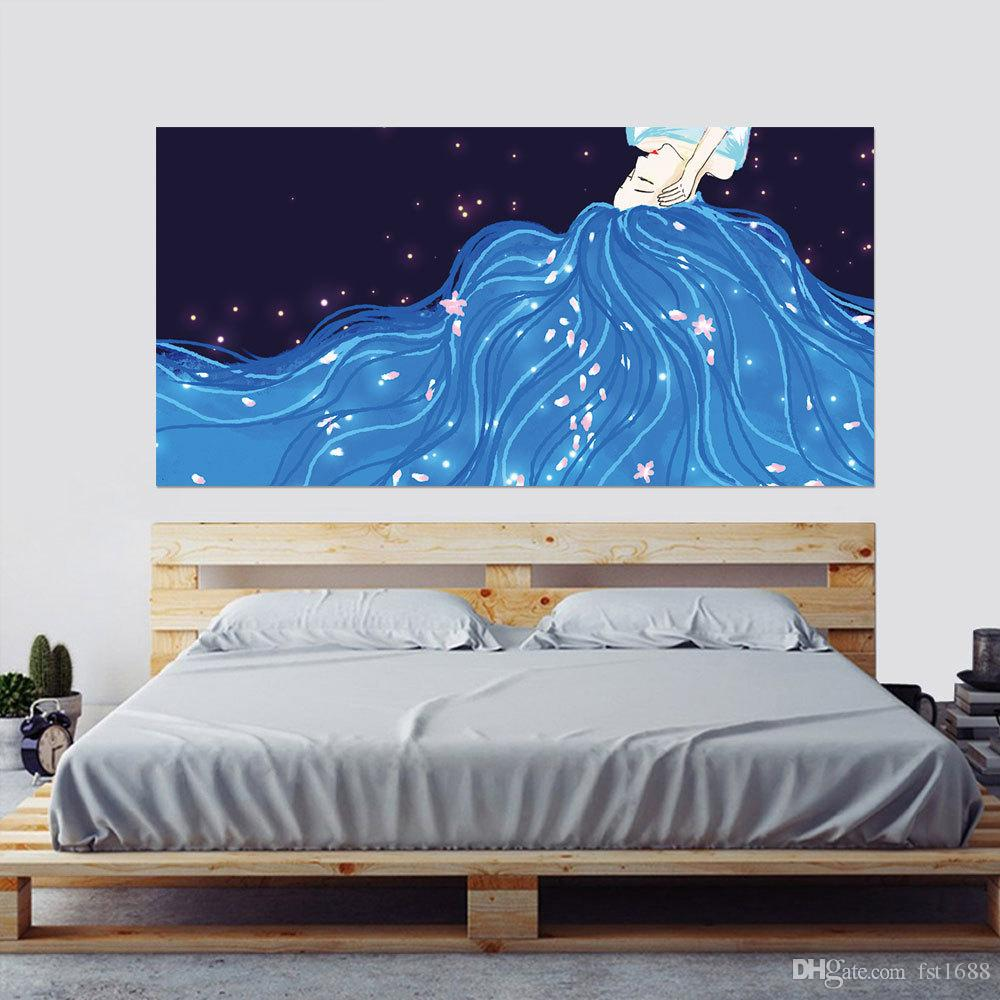 3D Sexy Girl Beauty Long Hair Bed Headboard Background Wall Stickers Home Decoration Bedroom Removable Vinyl Bedside Decals