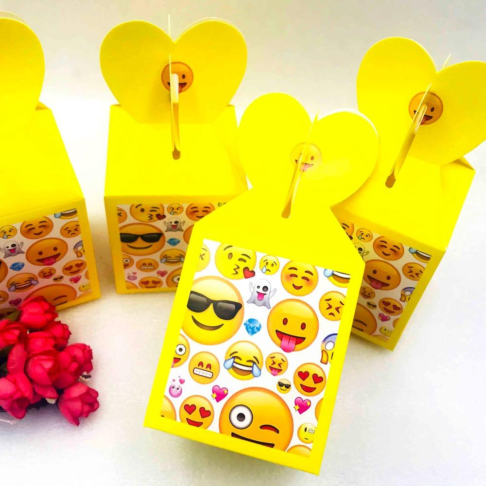 Smile Face Emoji Kids Birthday Party Supplies Candy Box Case Baby Favor Accessory Decoration Beautiful Christmas Gift Wrap