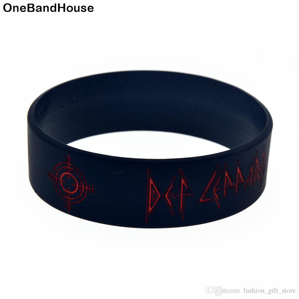 Hot Sell 1PC 1 Inch Wide Bracelet Def Leppard Heavy Metal Rock Band Silicone Wristband for Music Fans