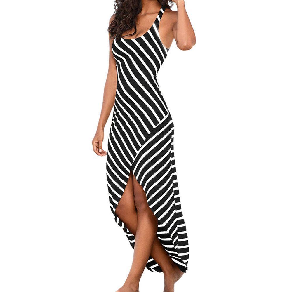 7c53a21240 Vetement Femme 2018 Women Summer Irregular Dress Casual Ladies Sundress  Sleeveless Stripes Loose Long Beach Dresses Vestidos Graduation Maxi Dresses  Summer ...