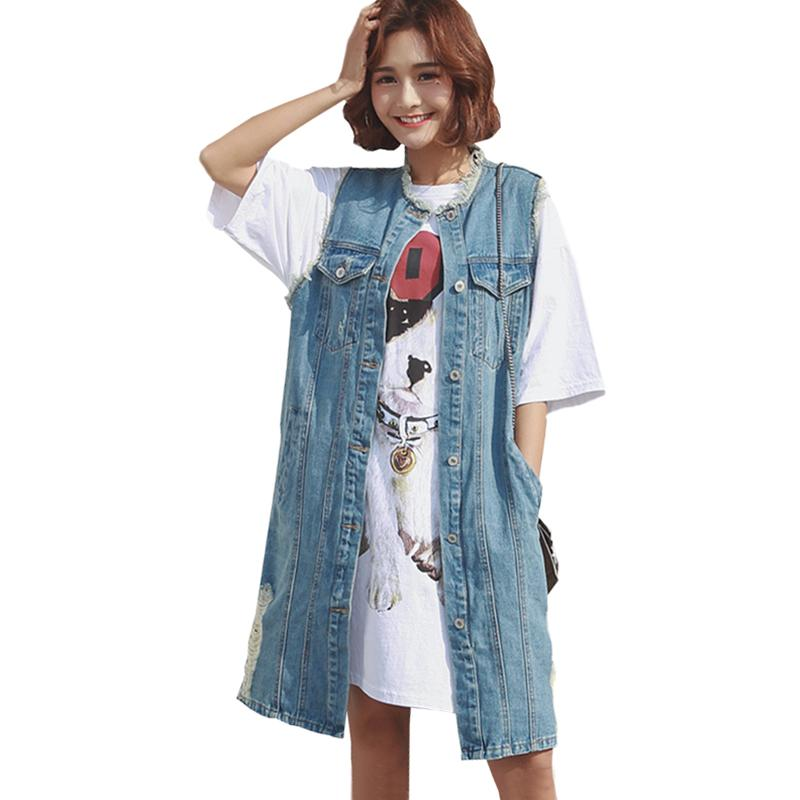 76151330eb8 2019 Summer Plus Size Denim Vest Coat 2018 Fashion Women Sleeveless O Neck  Waistcoat Female Frayed Long Jeans Jacket Outwear ZS358 From Zhaolinshe, ...