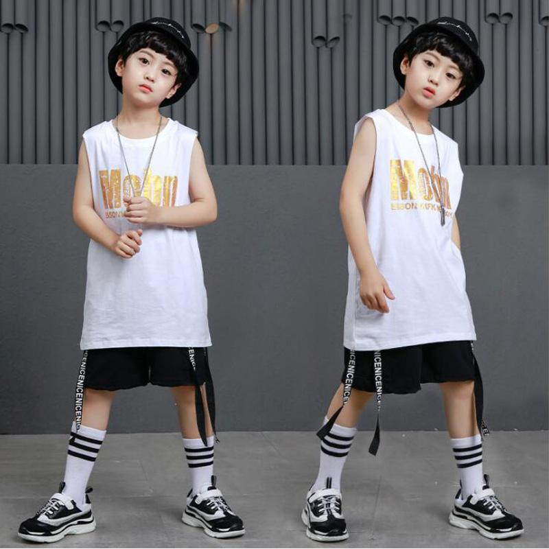 53d3a7439f2d 2019 Kid White Ballroom Jazz Hip Hop Dance Competition Costumes Children  Girl Boy Black Shirt Top Pants Party Stage Dancing Outfits From Whitecloth,  ...