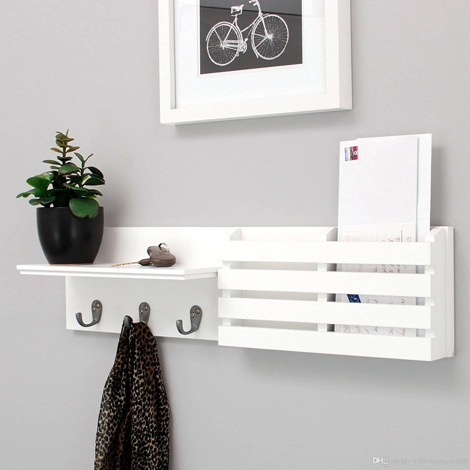 Wall Mounted Shelf And Mail Holder With 3 Hooks 24