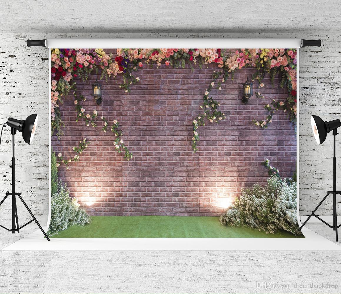 2018 dream 7x5ft pink flower wall backdrop brick wall grass