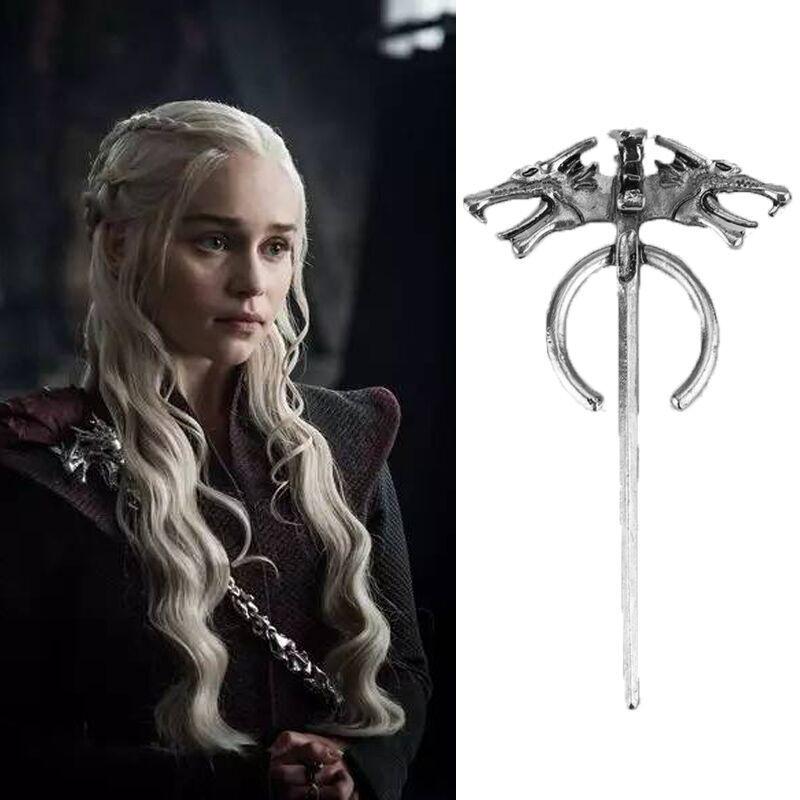 PIEDRAS DE CANZA DE HIERRO Y FUEGO Juego de tronos Daenerys Targaryen Madre Dragón Insignia Vintage Wolf Pin Hombres Broche Mujer Mujer