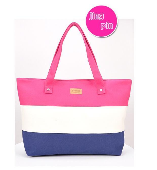 Designer Bag Canvas Handbag Women Beach Bag Fashion Hit Color ... 6da615d33c
