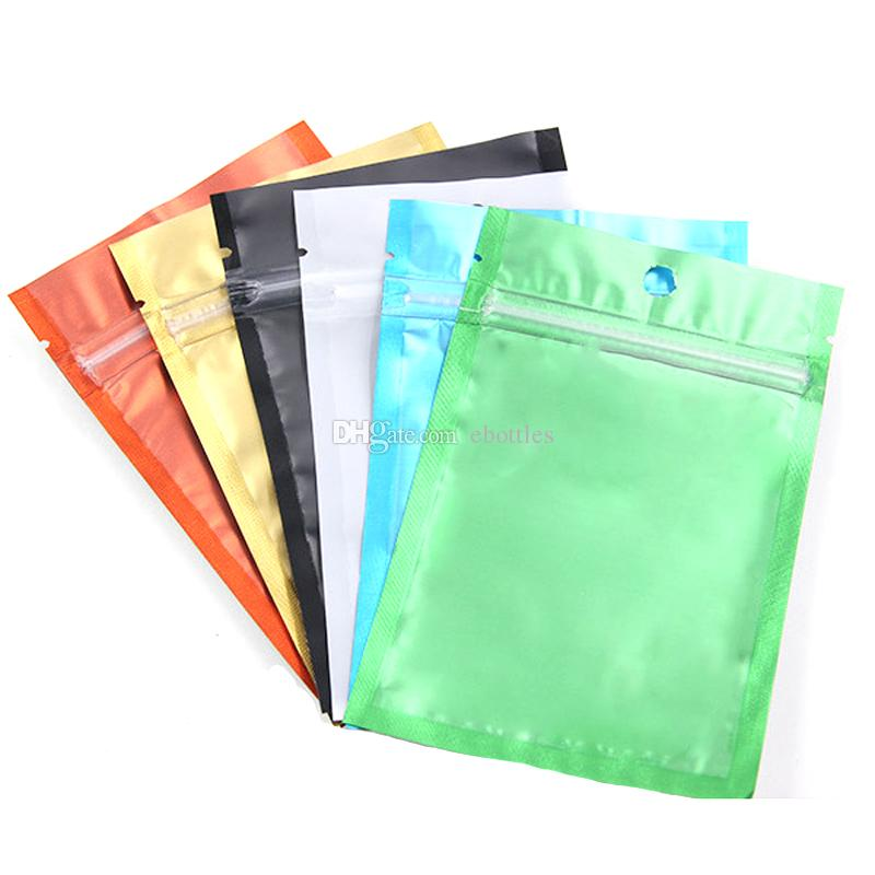Fast Shiiping Colored Resealable Zip Mylar Bag Aluminum Foil Bags Smell Proof Pouches Jewelry bag one side clear