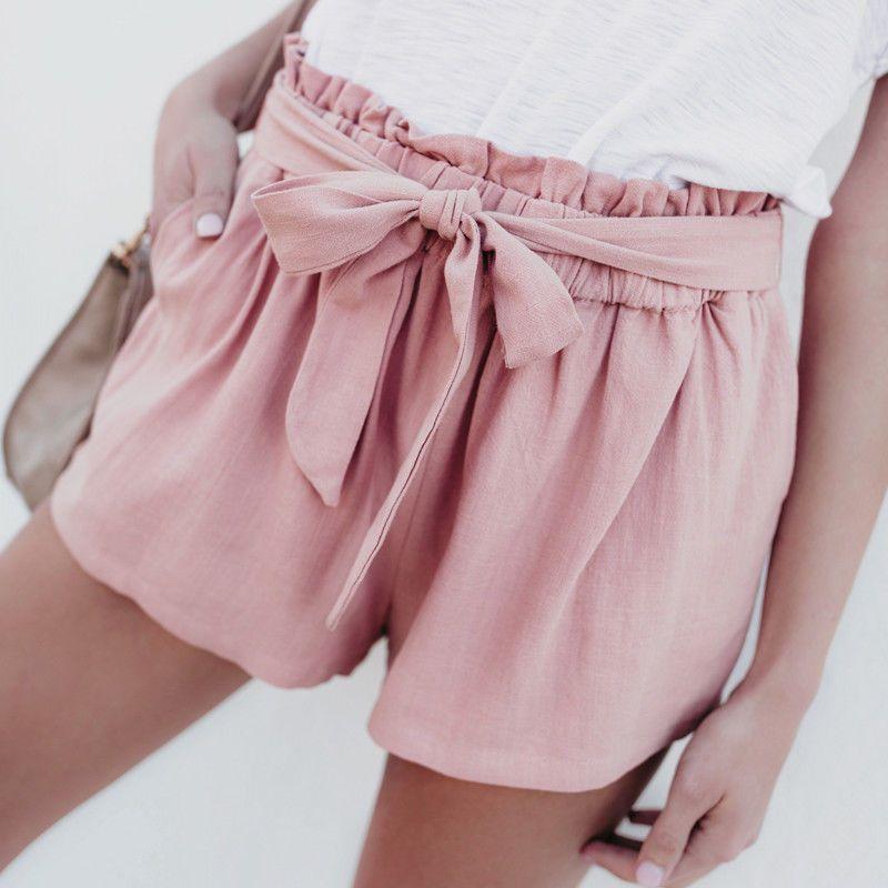 2019 Summer Causal Women Ladies Shorts Holiday Clothes Elastic Waist