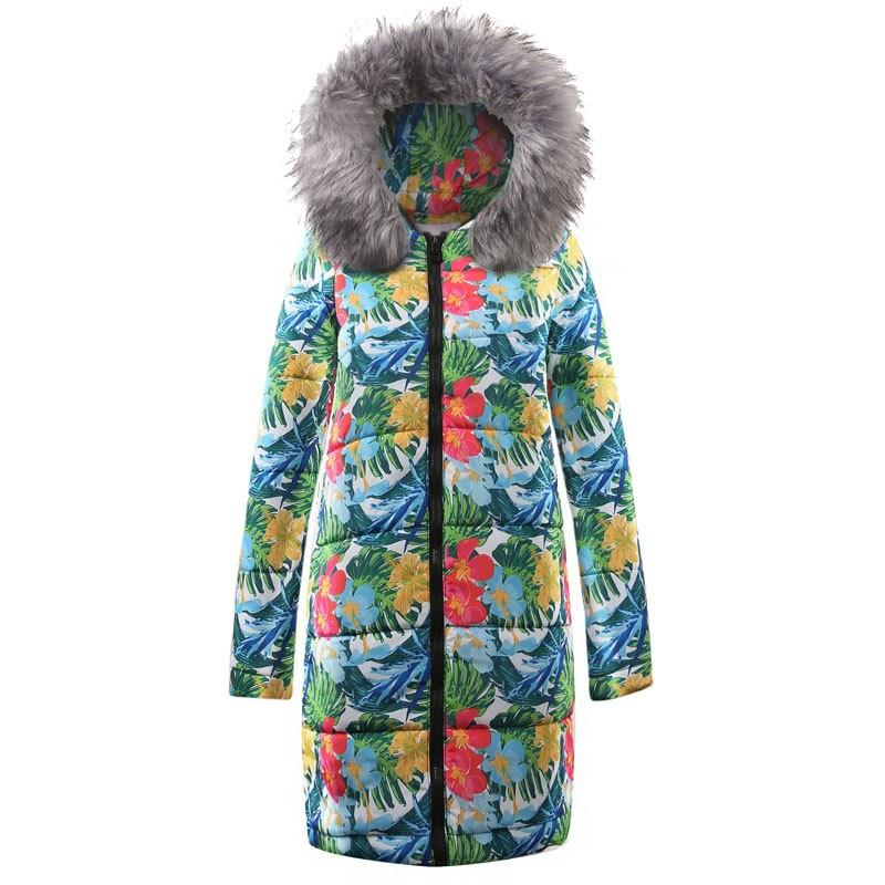 High Quality Winter Jacket Coat Print Women Fashion Parkas Coat Female Down Jacket With A Hood Large Faux Fur Collar