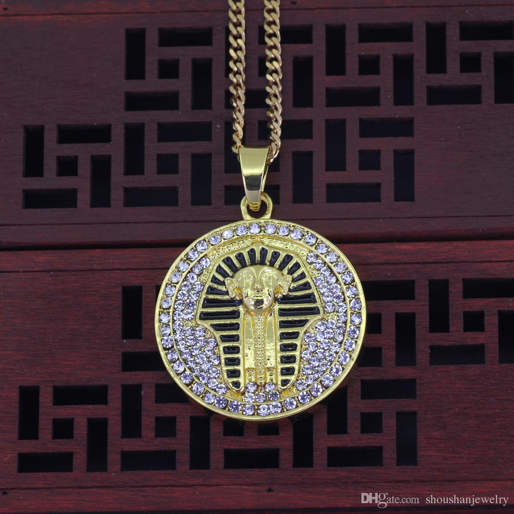 24inch stainless steel cuban chain Hip Hop Men Women Egyptian Pharaoh Pendant Necklace Jewelry N534