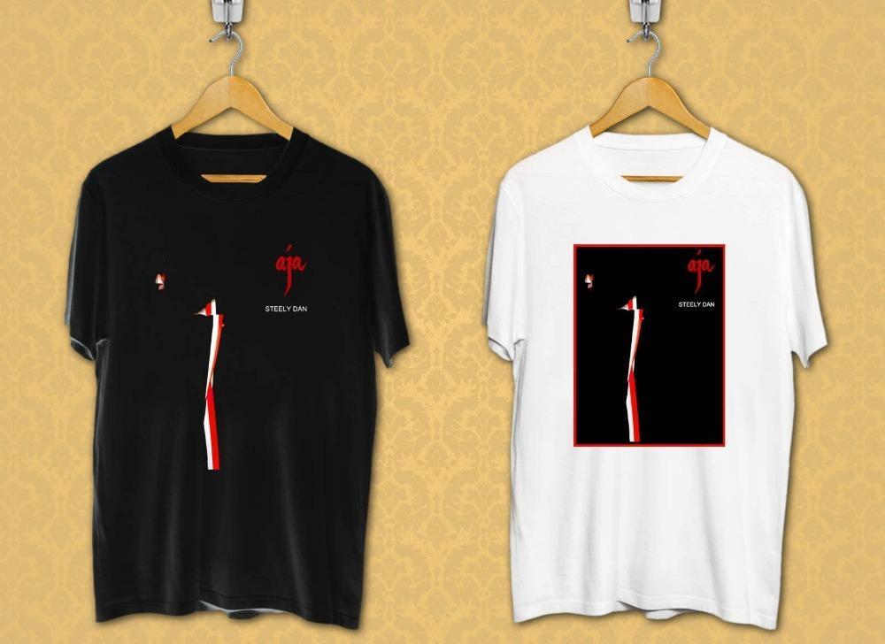 exuberante en diseño buscar genuino mejor precio para Camisetas impresas personalizadas cuello redondo Steely Dan Aja álbum de  portada Logo camisas de manga corta algodón negro y blanco para hombres