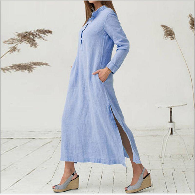 268543b8ee7 Mori Girl Long Maxi Dress 2018 Loose Split Elegant Summer Shirt Dress  Cotton Linen Boho Beach Style Fashion Dress Vestidos Ladies Nice Dresses  Green And ...