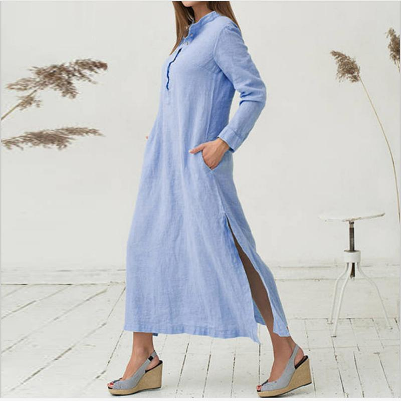 57f58e87d3 Mori Girl Long Maxi Dress 2019 Loose Split Elegant Summer Shirt Dress  Cotton Linen Boho Beach Style Fashion Dress Vestidos Chiffon Dress Online  Dresses From ...