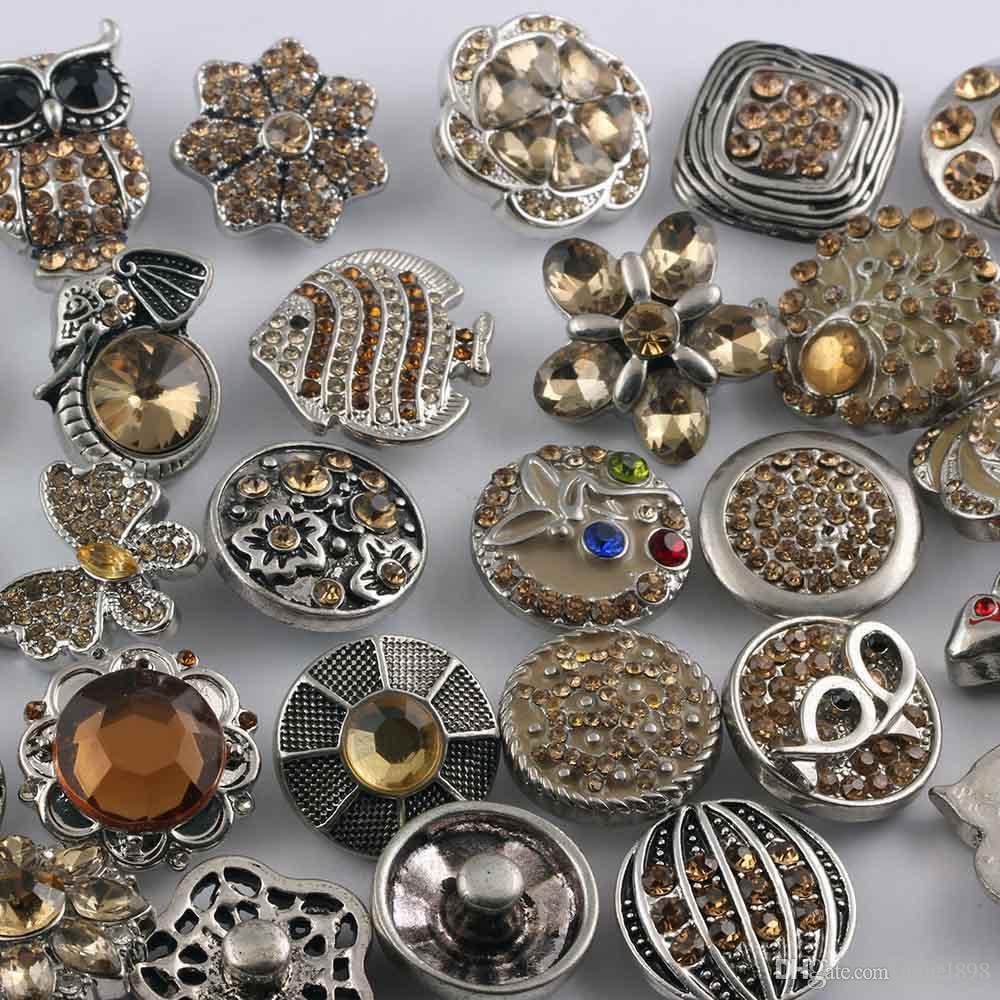 NOOSA Chunks Snaps Knopf-Schmucksachen heißen Großhandels/ Mischungsarten 18mm Rhinestone-Metallverschluss-Knopf Charme passende Armbänder Halskette